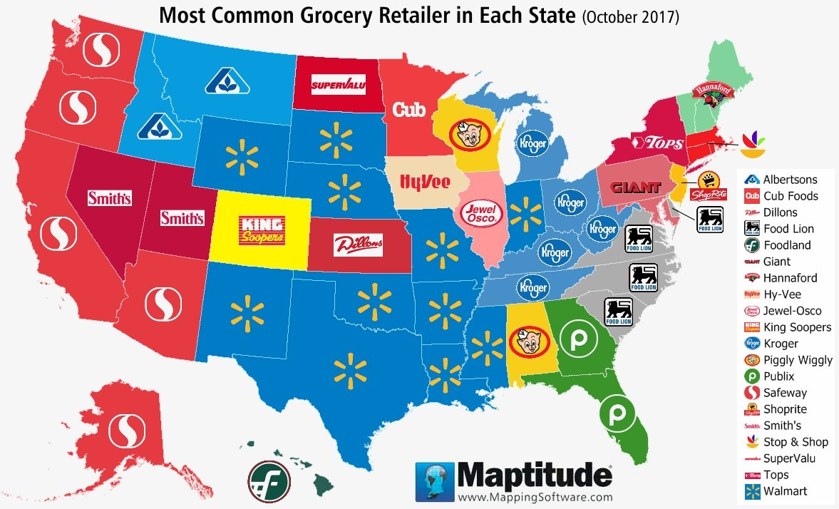 Maptitude mapping software map infographic of most common U.S. grocery chains by state