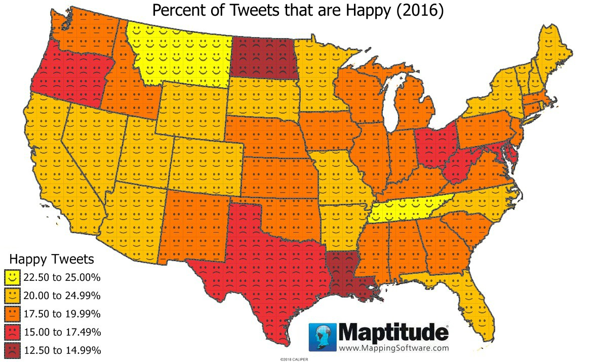 Maptitude mapping software map infographic of percent of Tweets that are happy by state