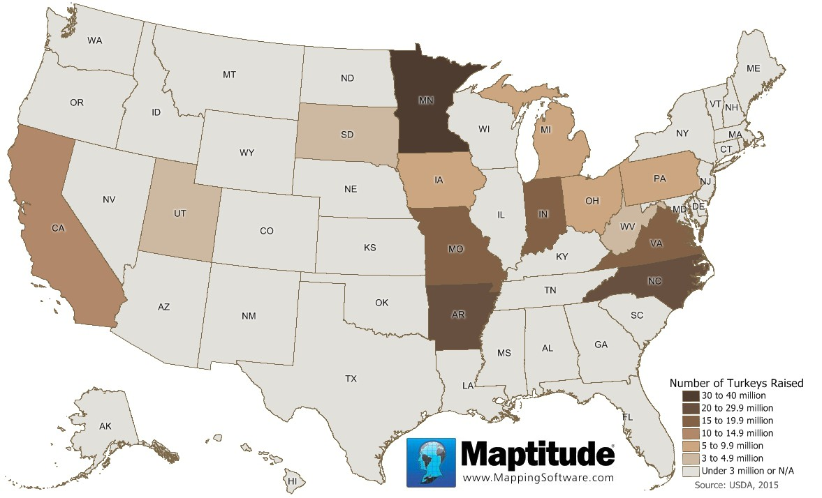 Maptitude map of turkeys raised by state