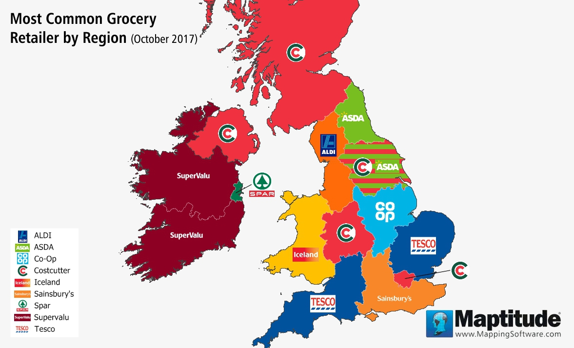 Maptitude mapping software map infographic of most common UK grocery chains by region