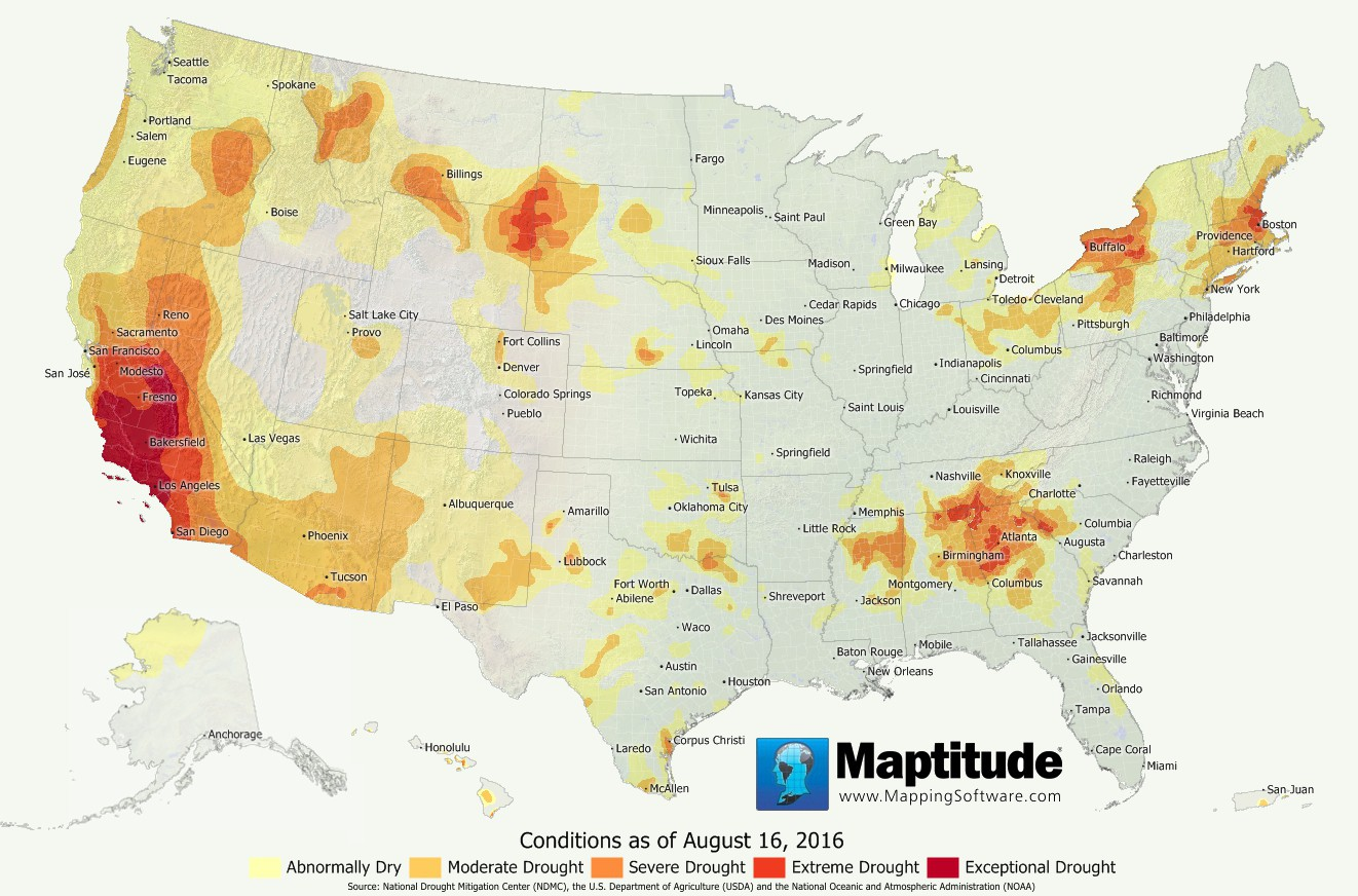 Maptitude map of U.S. drought conditions as of August 2016