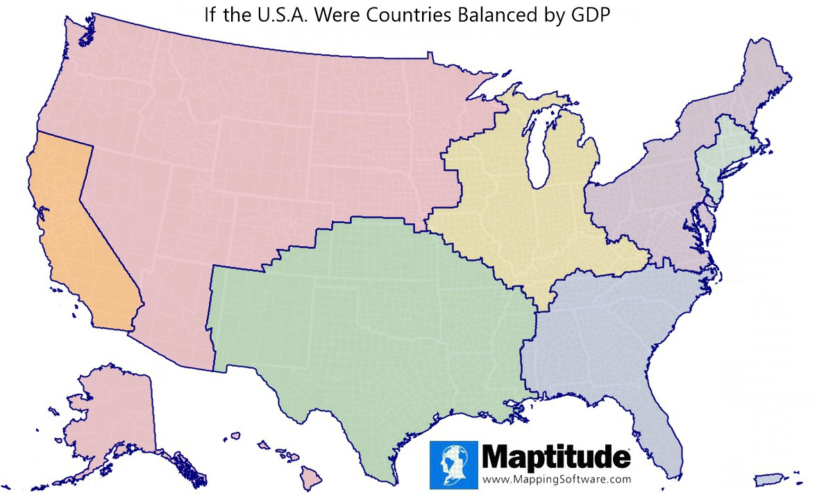 Maptitude mapping software infographic of U.S. Counties divided into $3 trillion economies