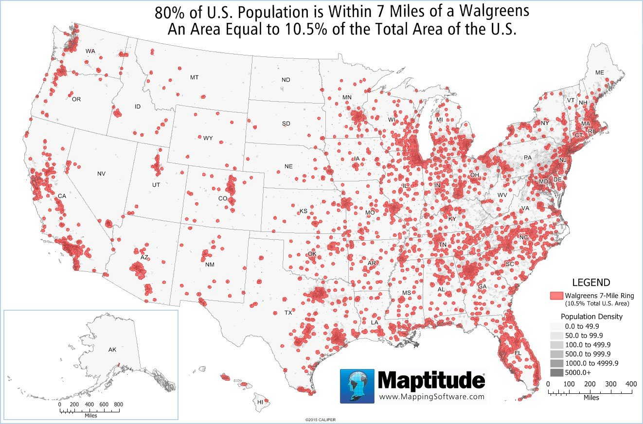 Featured Maptitude Maps - Map of the us population density