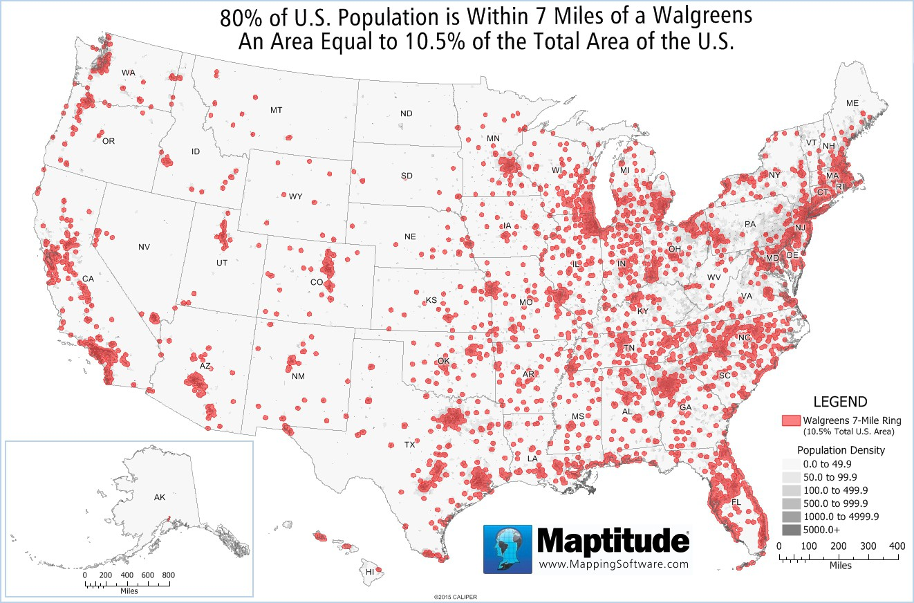 Maptitude map showing 80% of the U.S. population within 7 miles of a Walgreens