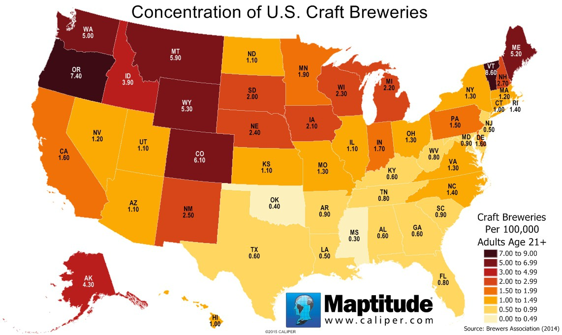 Maptitude map of microbrewery concentration by state