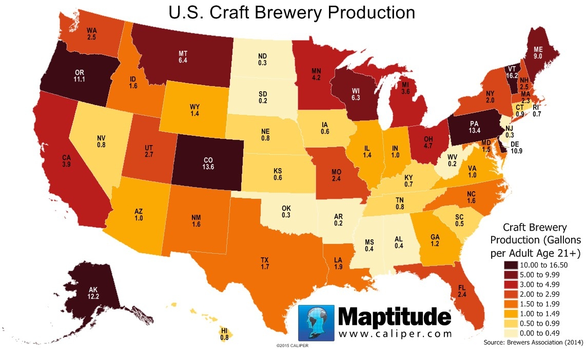 maptitude map craft brewery production by state