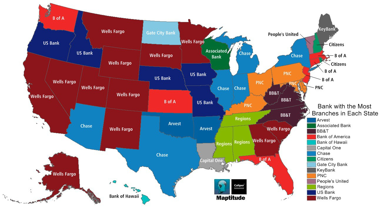 Maptitude Map Most Popular Banks - Us bank branch locations map