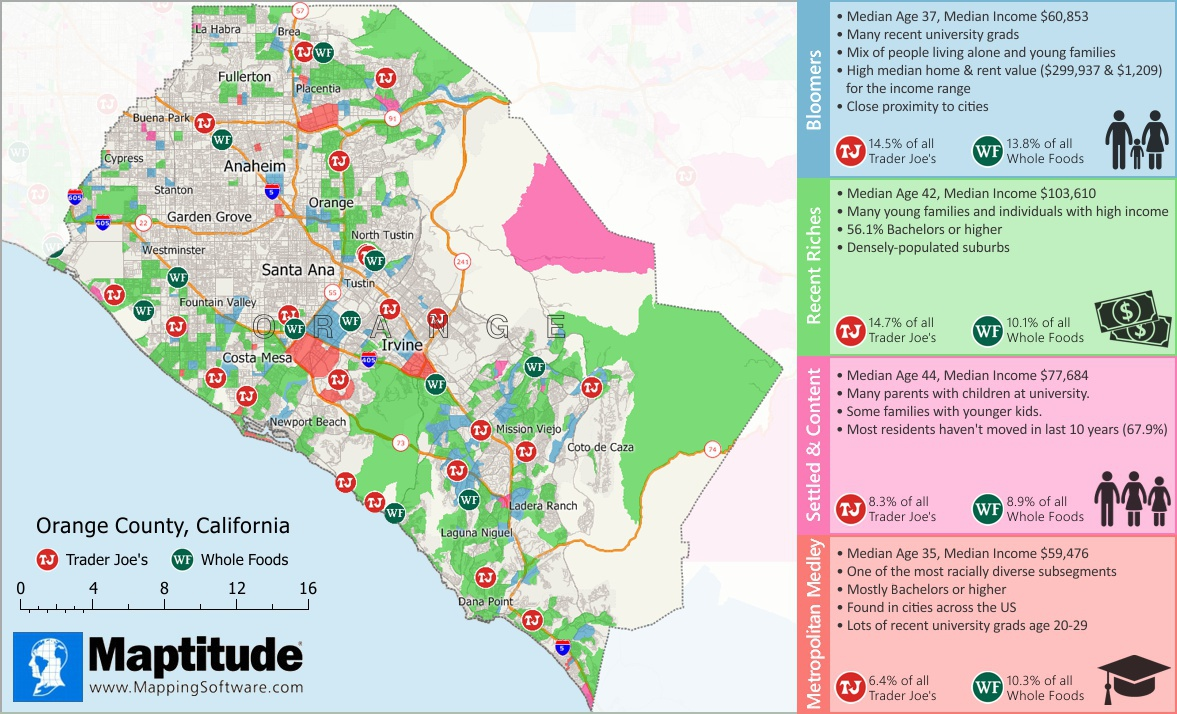 Maptitude mapping software infographic of Trader Joes and Whole Foods market segmentation