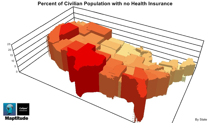 Uninsured Population by State Maptitude Map