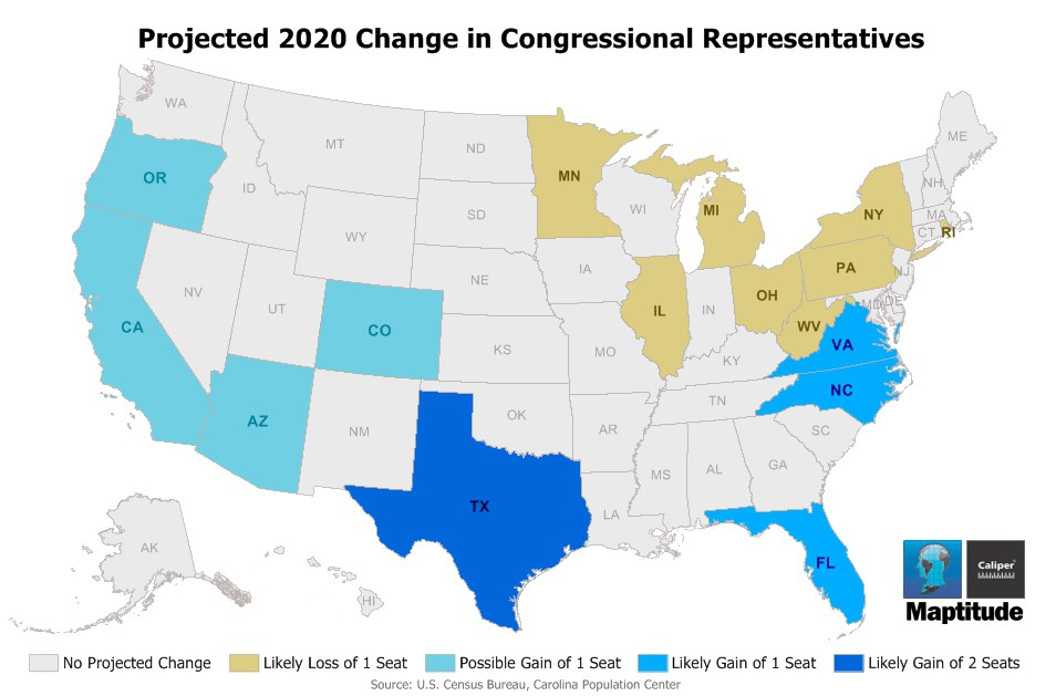 Maptitude Map 2020 Reapportionment Projection
