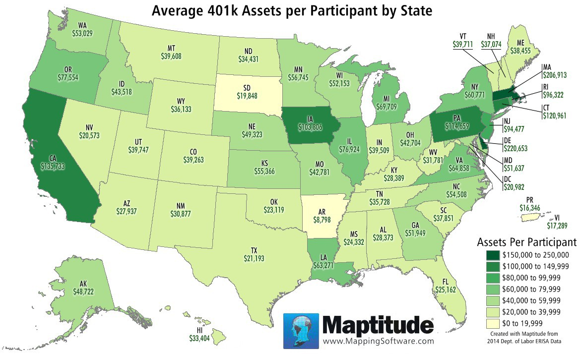 Featured Maptitude Map: Per Capita State Income Tax Collected