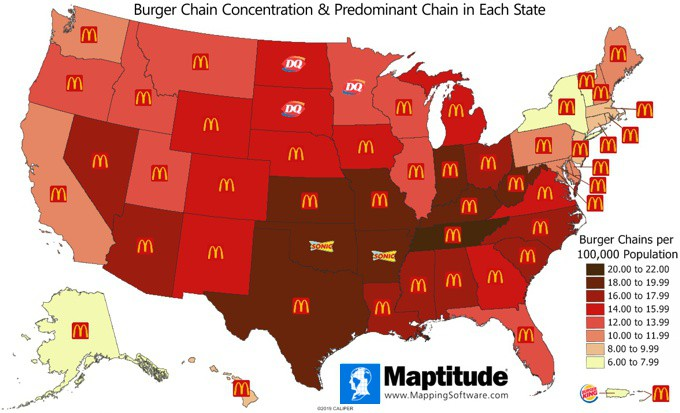 Maptitude map of burger chain restaurants per 100,000 population by U.S. state