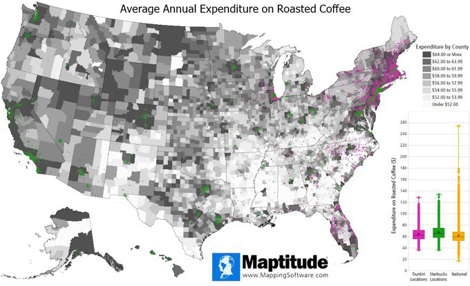 Maptitude map of coffee expenditure in the U.S. and box plot comparing Dunkin, Starbucks, and Caribou