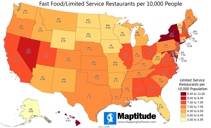 Maptitude map of limited service restaurants per 10,000 population by U.S. state