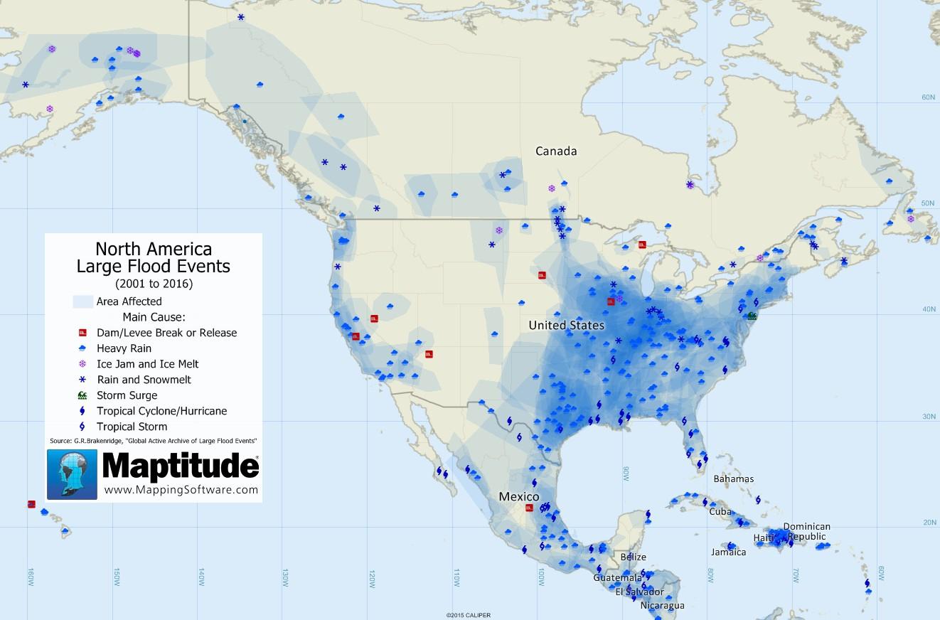 maptitude map  large flood events