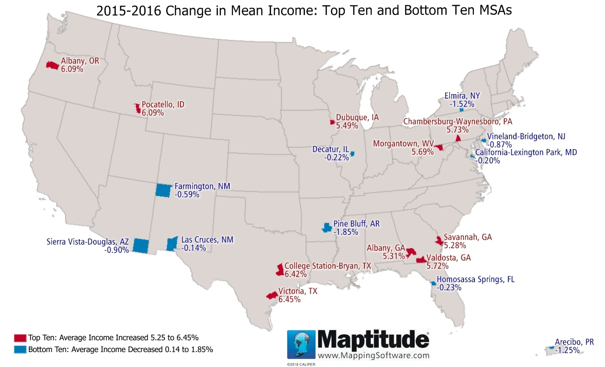 Featured Maptitude Map: Top and Bottom Ten MSAs for change in mean income 2015-2016