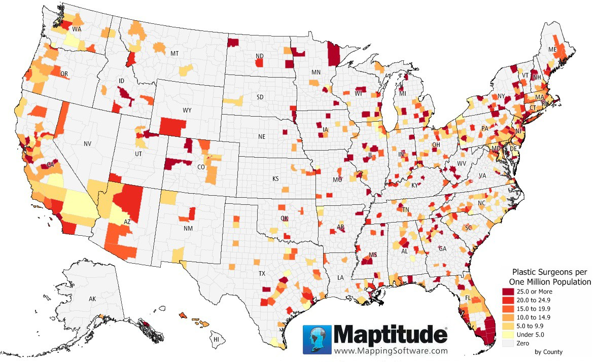 mapude map of plastic surgeon density by county