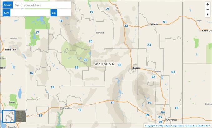 Maptitude online Wyoming Legislative Districts Map