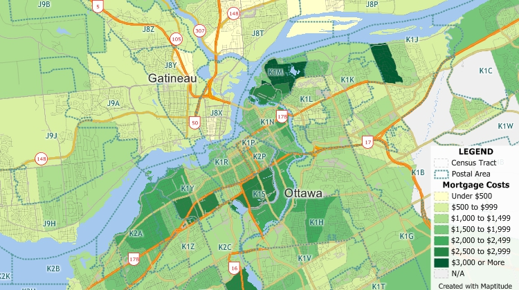 Maptitude Canada Country Package includes demographic data useful to banking