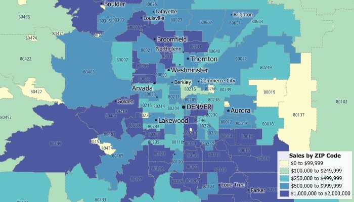 Maptitude map of sales aggregated by ZIP Code