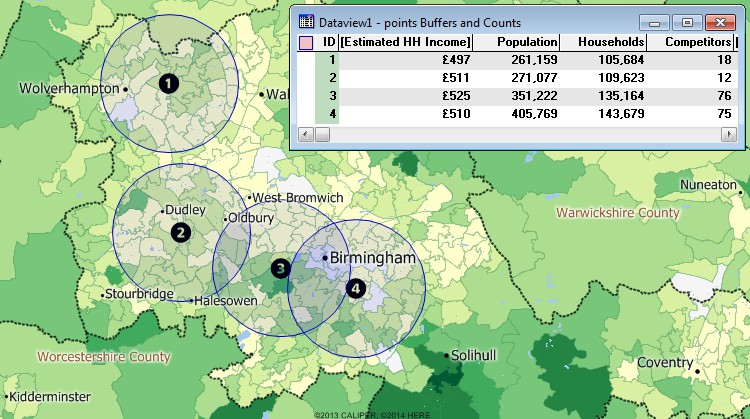 Maptitude GIS overlay results for demographics around Birmingham, United Kingdom sites
