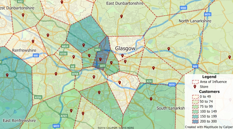 Maptitude GIS map of area-of-influence territories around sites in Glasgow, United Kingdom