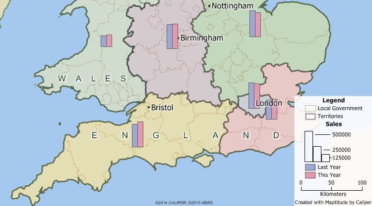 Maptitude GIS map of territories built from United Kingdom local government areas