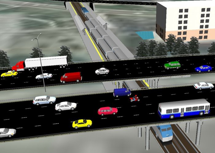 3D Simulation with Rail and Bus Transit