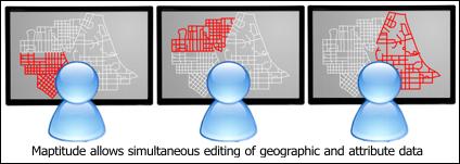 Maptitude allows simultaneous editing