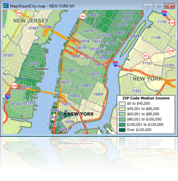 Sample ZIP Code Map with ACS Income Data