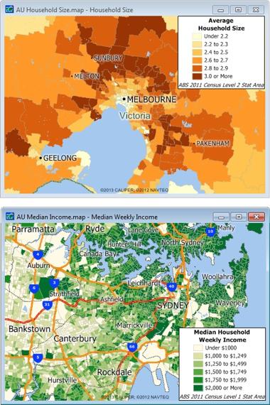 Sample Maptitude Australia Demographic Maps