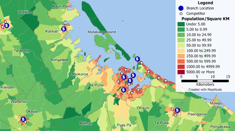 Banking map software for New Zealand lets you examine sites for bank expansion