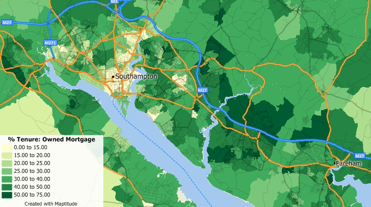 Maptitude UK Country Package includes demographic data useful to banking