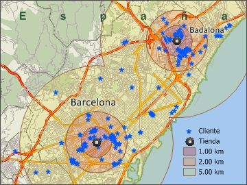 Mapa de Barcelona creado con Maptitude, un programa para diseñar mapas geográficos