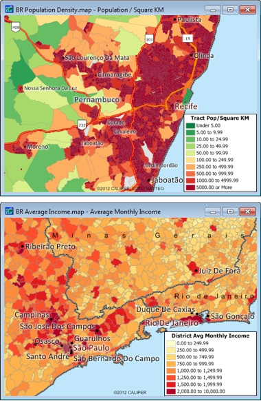 Sample Maptitude Brazil Demographic Maps