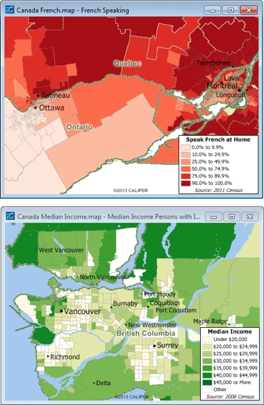 Sample Maptitude Canada Demographic Maps