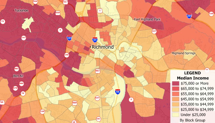 Maptitude map of median income by Census Block Group using the new 2019 block group layer