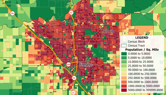 Sample Maptitude map of population density by Census Block