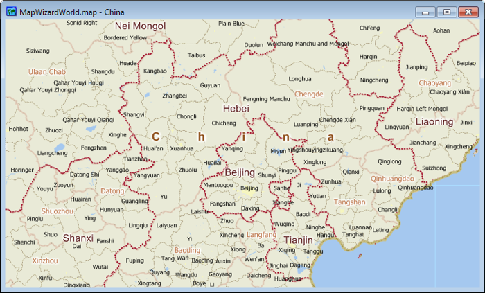 Sample China map created with Maptitude using the Download Free Layers add-in