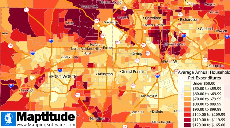 Maptitude free expenditure data sample map of pet expenses
