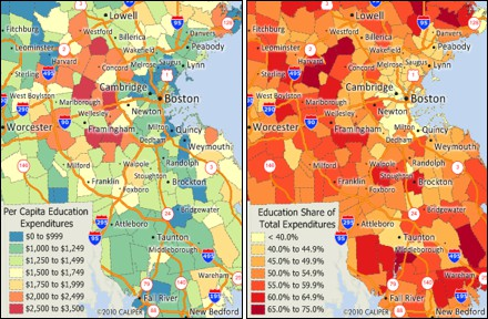 Maptitude maps of education expenditures