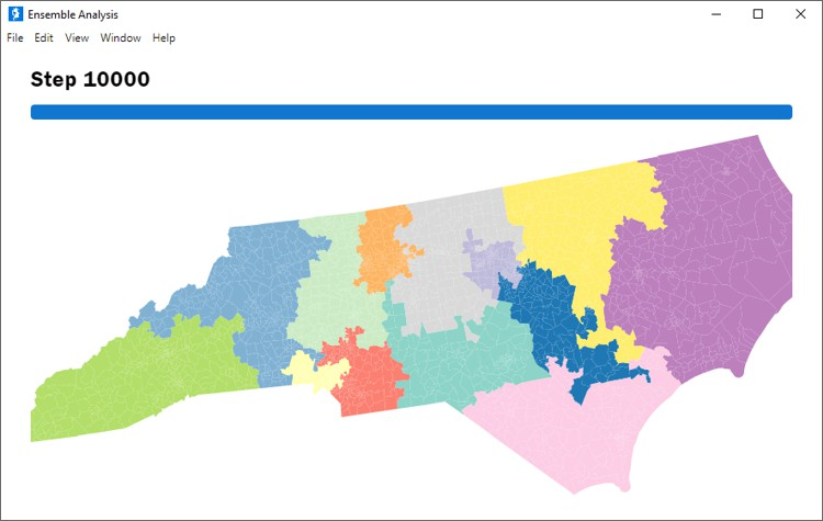 Ensembles (simulations) created with Maptitude for Redistricting alternative to BARD Better Automated Redistricting