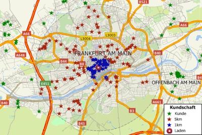 Maptitude Germany street map with geocoded locations