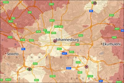 Maptitude Johannesburg Drive Time Map