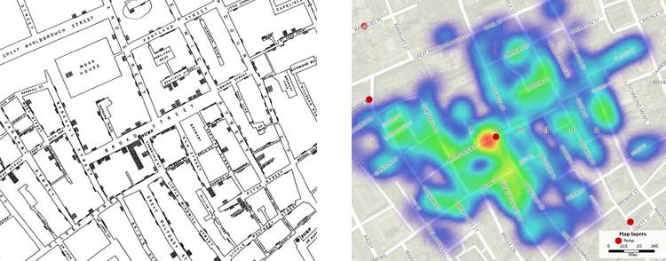 John Snow map and GIS map