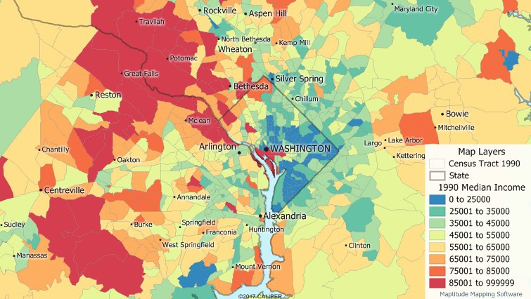 1990 Census Data map of Income by Tract