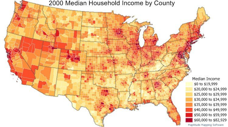 2000 Census Data -  Household income by county