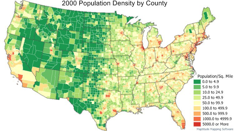 2000 Census Data -  Population density by county