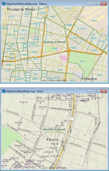 Sample Maptitude Mexico and Brazil Postal Code Maps
