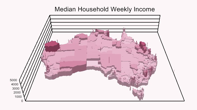 3D heat map of Australia household income